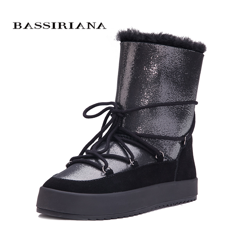 Winter boots shoes woman Genuine shearling snowboots Black White Blue 35-40 Free shipping BASSIRIANA