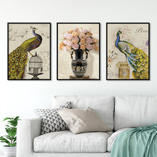Hot sale Nordic style Peacock Flower Branch Cage vase Art Canvas Poster and Print Canvas Painting Decorative Wall Decor P0040(China)