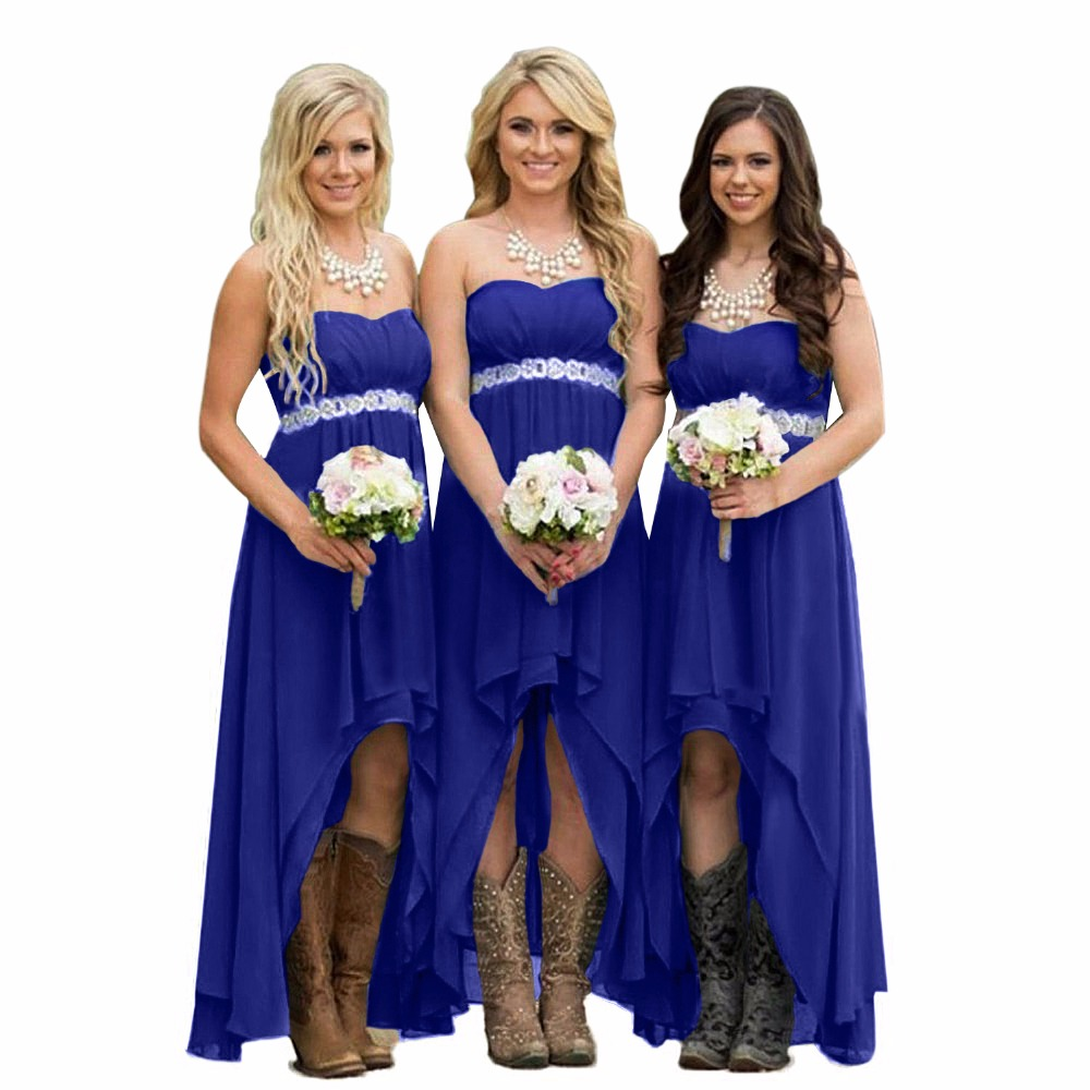 2017 mint green long bridesmaid dresses high low chiffon royal blue ...