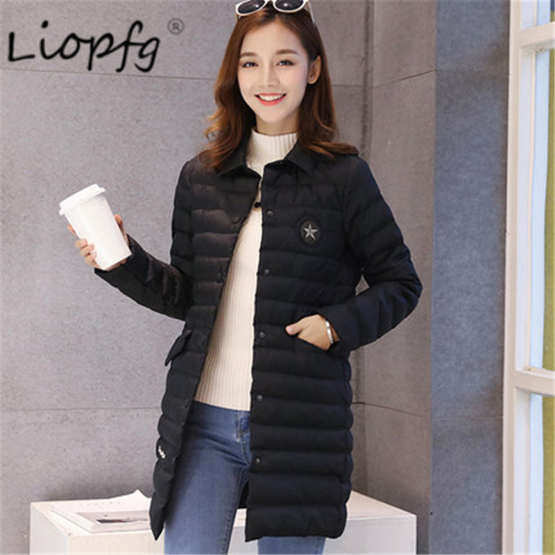 New work casual women Slim long sleeves in the long section of cotton thin cotton  jacket winter coat 9903 sky blue cloud removable hat in the long section of cotton clothing 2017 winter new woman