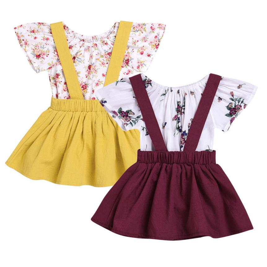 Toddler Kids Shirts+Dress Clothes Sets for Baby Girl Floral Print Tops Rompers 2Pcs Princess Elegant Strap Dresses Outfits Suit