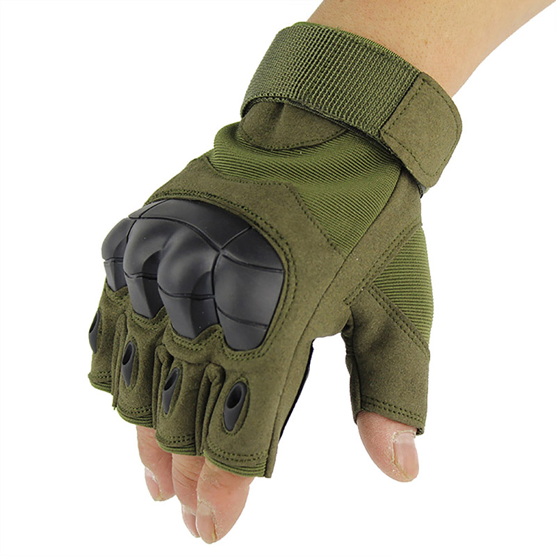 Camping Hiking Gloves Soft Half Finger Tactical Military Anti-Skid Rubber Hard Knuckle Gloves Paintball Sportswear High Quality