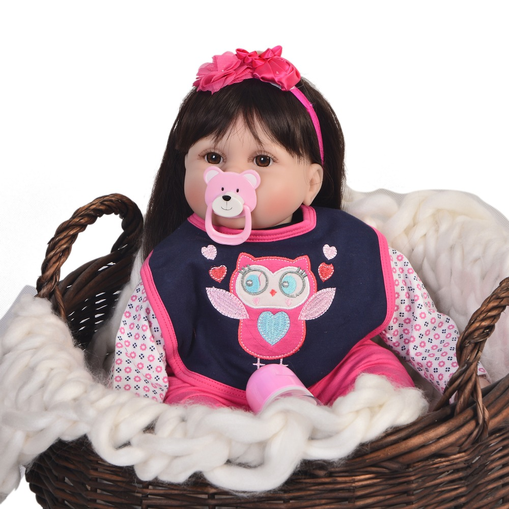 Lovely 55 cm Cute Reborn Soft Silicone Newborn Doll For Girl 22 Fashion Reborn Baby Doll Cloth Body Kids Christmas GiftsLovely 55 cm Cute Reborn Soft Silicone Newborn Doll For Girl 22 Fashion Reborn Baby Doll Cloth Body Kids Christmas Gifts