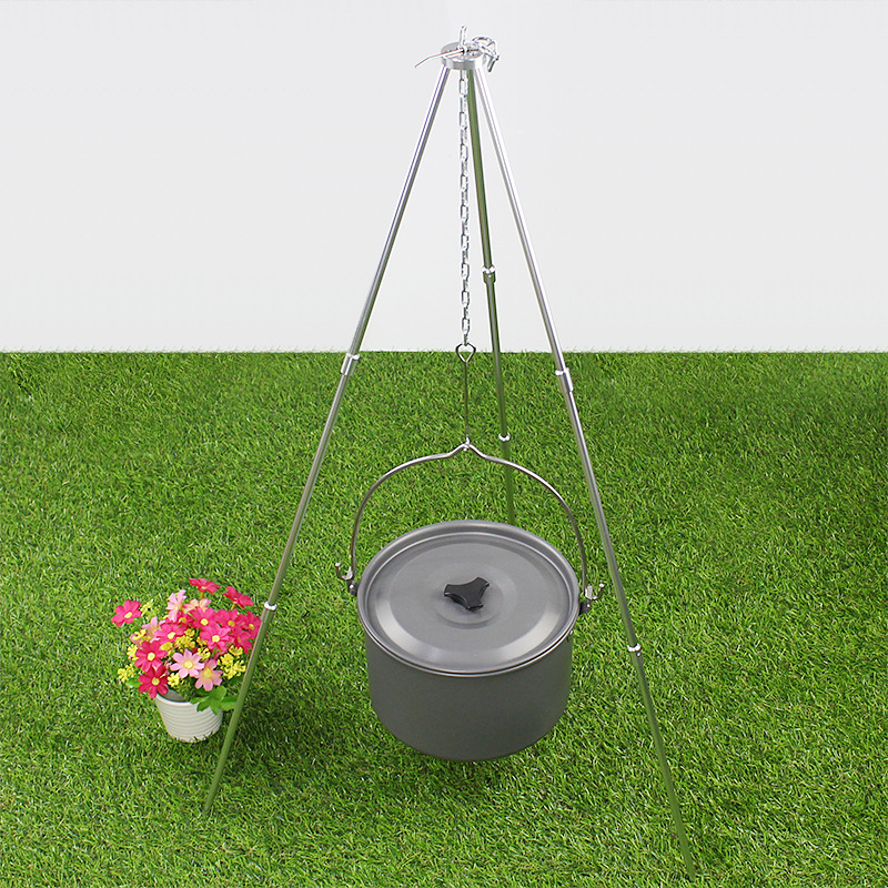 Aluminum alloy  Hiking BBQ Picnic Outdoor Fire Stove Three Portable Tripod Hanging Pot Support Tripod Fire Camping Equipment szy qn001 aluminum alloy portable outdoor stove camping tent portable gas heater stove high quality tent accessories