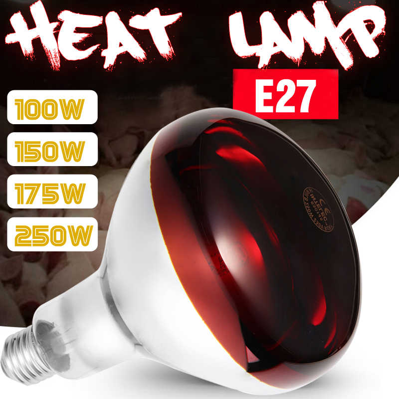 Hight Quality E27 100W/150W/175W/250W Heat Lamp Smart Infrared LED Light Pet Brooder Hatch Chicken Piggy Dog Cat Bulb AC110-240V
