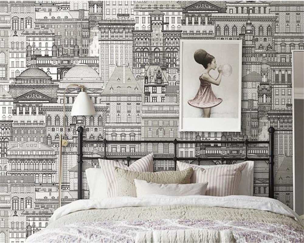 Beibehang черно белый эскиз замок городской архитектурный магазин одежды обои мода спальня фон papel де parede 3d