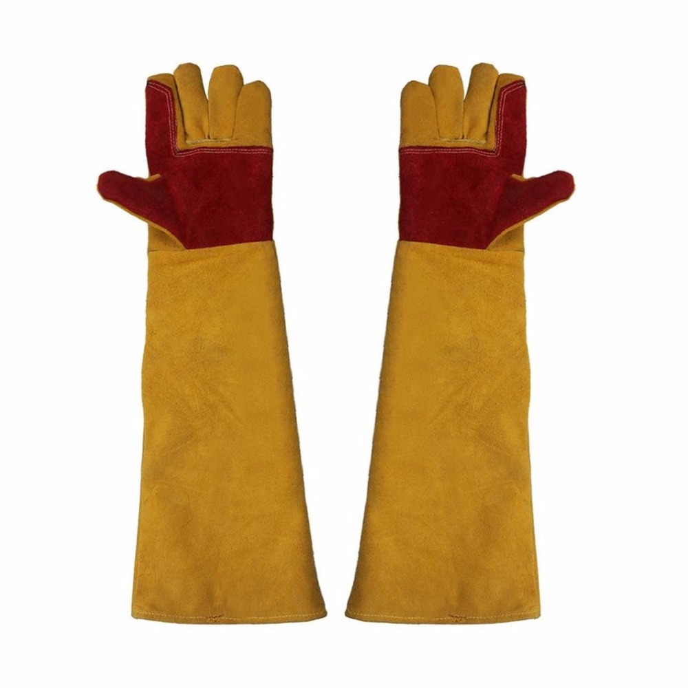 60cm Lengthening Working Gloves Wear Resistant Electric Welding Soldering Safety Labor Protective Gloves Industrial Gloves strong 0 35mmpb medical x ray protective gloves ray workplace use gloves lead rubber gloves
