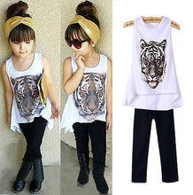 Baby Girls Tiger Tops shirt+Black Pants Kids Clothes Sets Suit Outfit 1-6YEAR