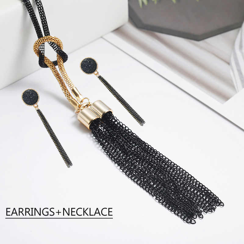 Black Tassel  Pendant  Necklace Jewelry Set For Women Elegant Tassel Earrings Gift For Friends Classical EA+NE