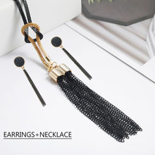 Black Tassel Pendant Necklace Jewelry Set For Women Elegant Tassel Earrings Gift For Friends Classical EA+NE(China)