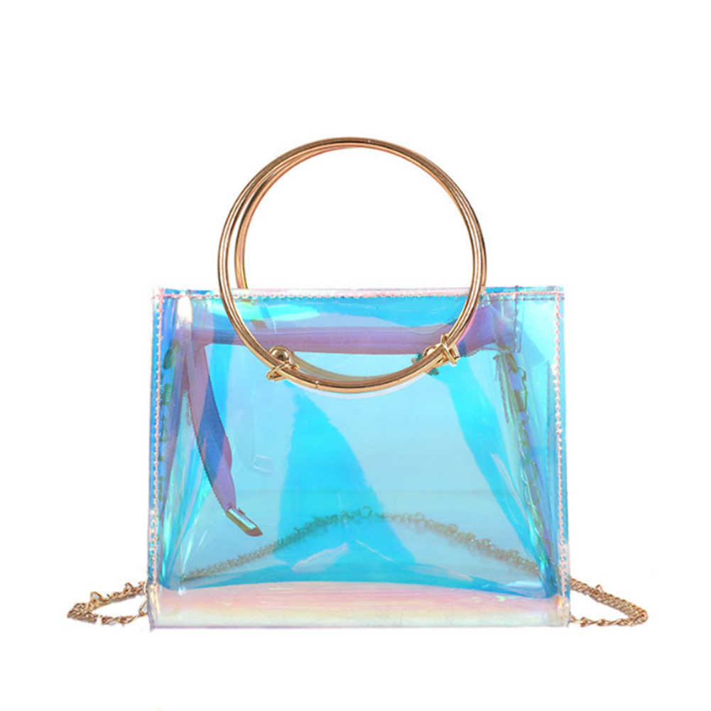 50e66eab1 Women Transparent Bag Clear PVC Jelly Tote bags metal round handle Laser  Holographic Shoulder Bags Female