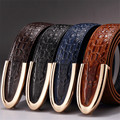 Fashion Business Smooth Buckle Belt Crocodile Striped Genuine Leather Belt Men Designer Belts Men High Quality