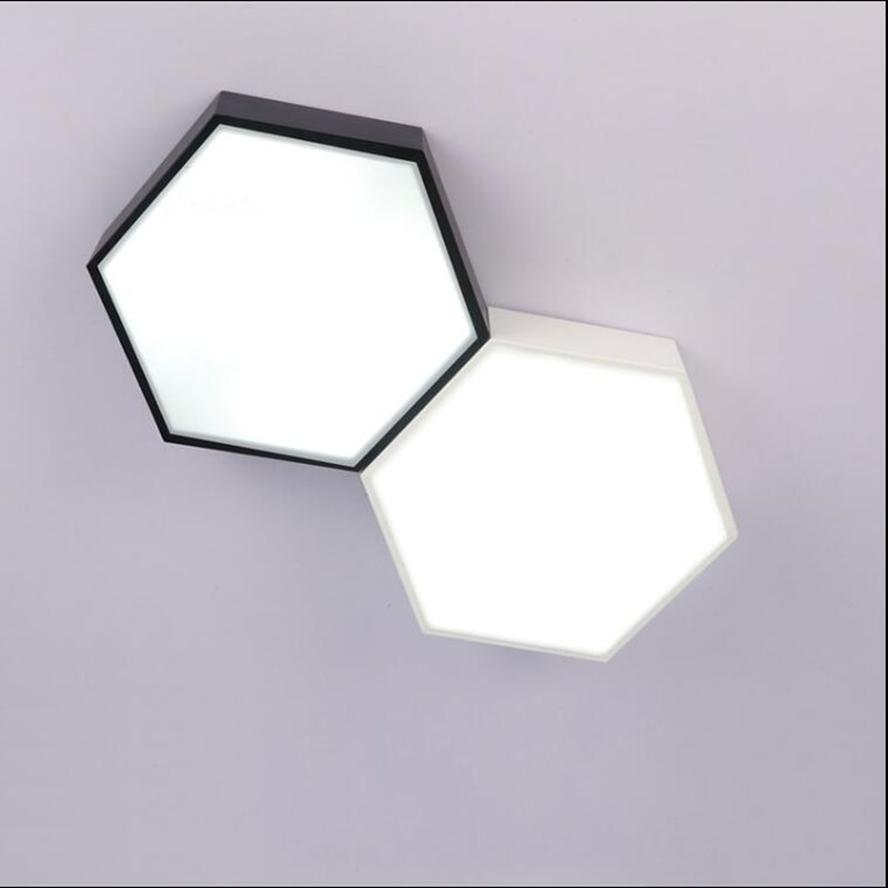 ФОТО Modern Ceiling light LED lamp iron baked paint trapezoidal body Acrylic faceplate panel for Bedroom light fixture