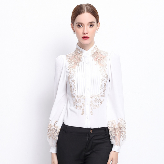 Designer one piece embroidery slim puff sleeve fashion top women's chiffon bodysuit S1557