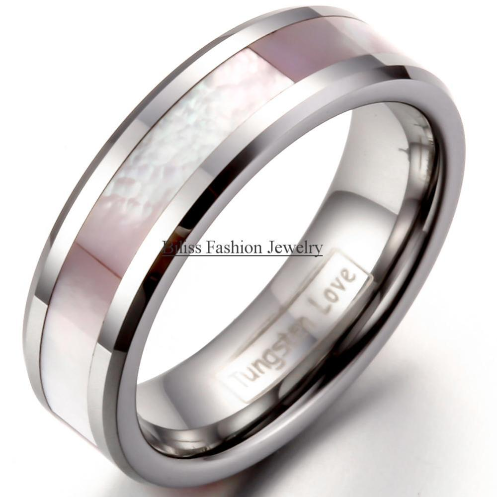 Junmer Womens Shell Stainless Steel Ring Inlaid Diamond Womens Titanium Steel Ring