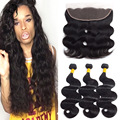 Ear to Ear Lace Frontal Closure with 3/4 bundles 8A Ali Moda Malaysian Body Wave Virgin Human Hair Weave Bundles With Closure