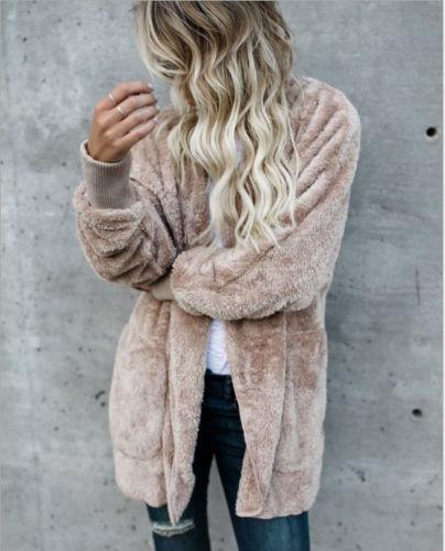 New Fashion Women Long Sleeve Cardigan Velvet Solid Jackets Loose Casual Outwear Warm Coat 2018 Winter