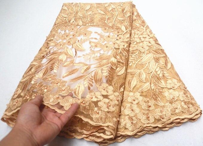 5 yards or africain dentelle tissu 2019 africain français dentelle tissu avec perles tulle dentelle nigériane dentelle tissus pour robe PS Q55-in Dentelle from Maison & Animalerie    1
