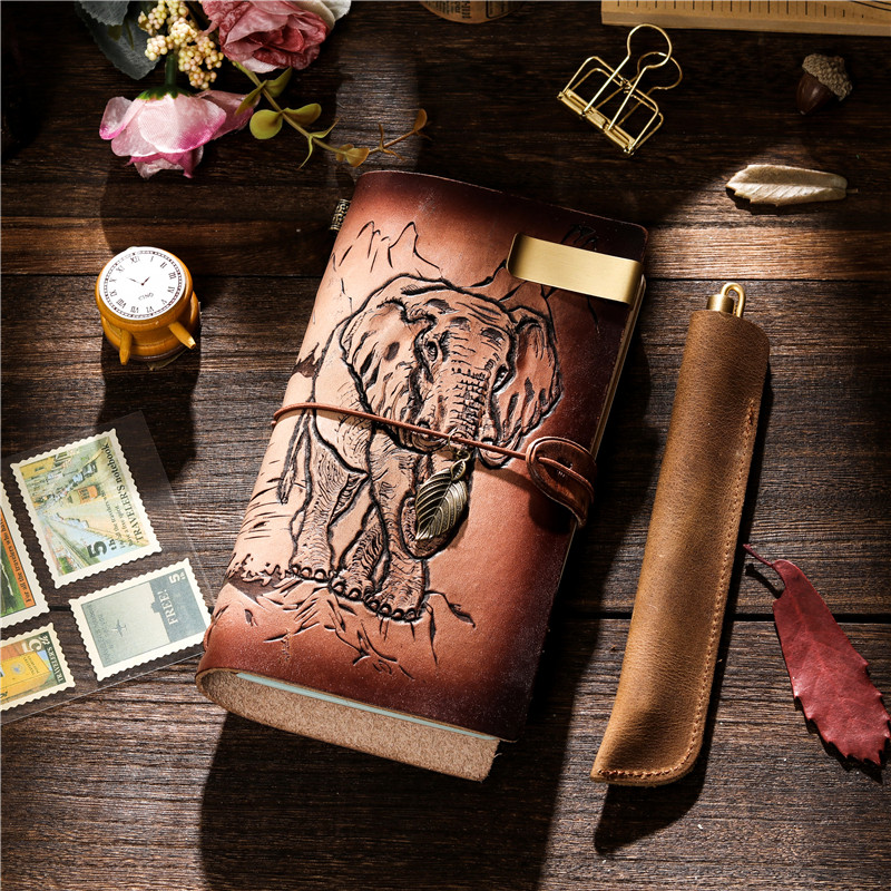 craft 100% Vintage Genuine Leather Notebook Diary Travel Journal Planner Sketchbook Agenda DIY Refill Paper Birthday Gift 0421
