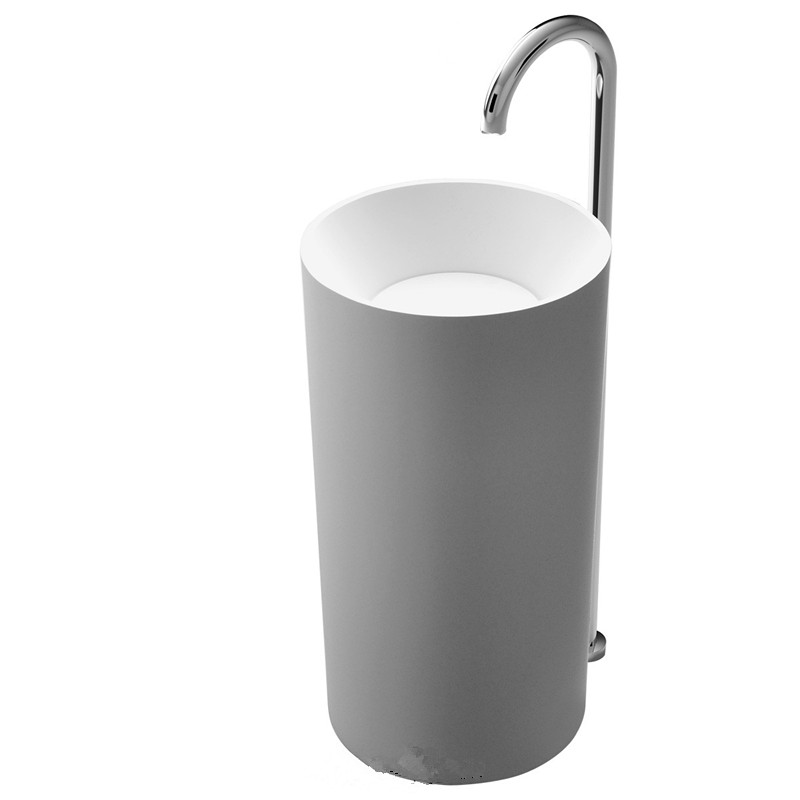 Corian Bathroom Pedestal Wash Basin Freestanding Solid Surface Matt Sink Cloakroom Vanity Wash Sink RS38151-1