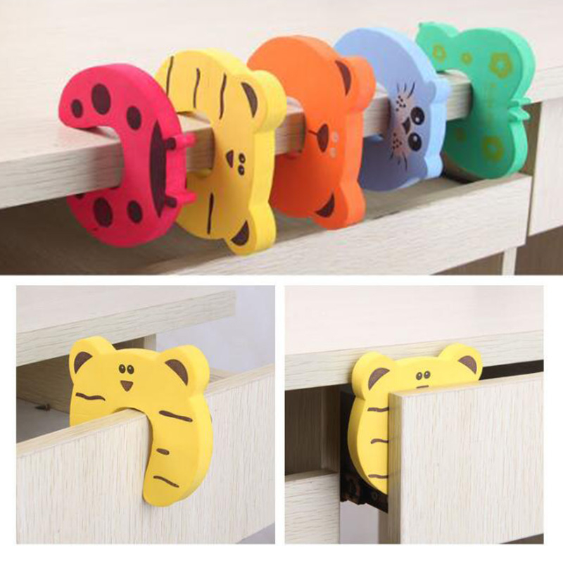 8Pcs/Lot Child Baby Safety Door Stop Card Locks Protection Children Cartoon Edge Corner Stopper Clip Lock For Door Baby Care