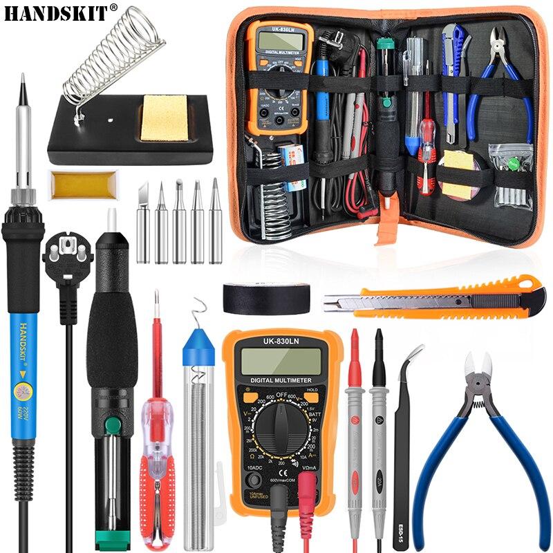 Handskit Temperatura Elettrico di Saldatura Kit di Ferro 110 v 220 v 60 w Saldatura kit di Ferro Con Multimetro Desoldeirng Pompa di Saldatura strumento