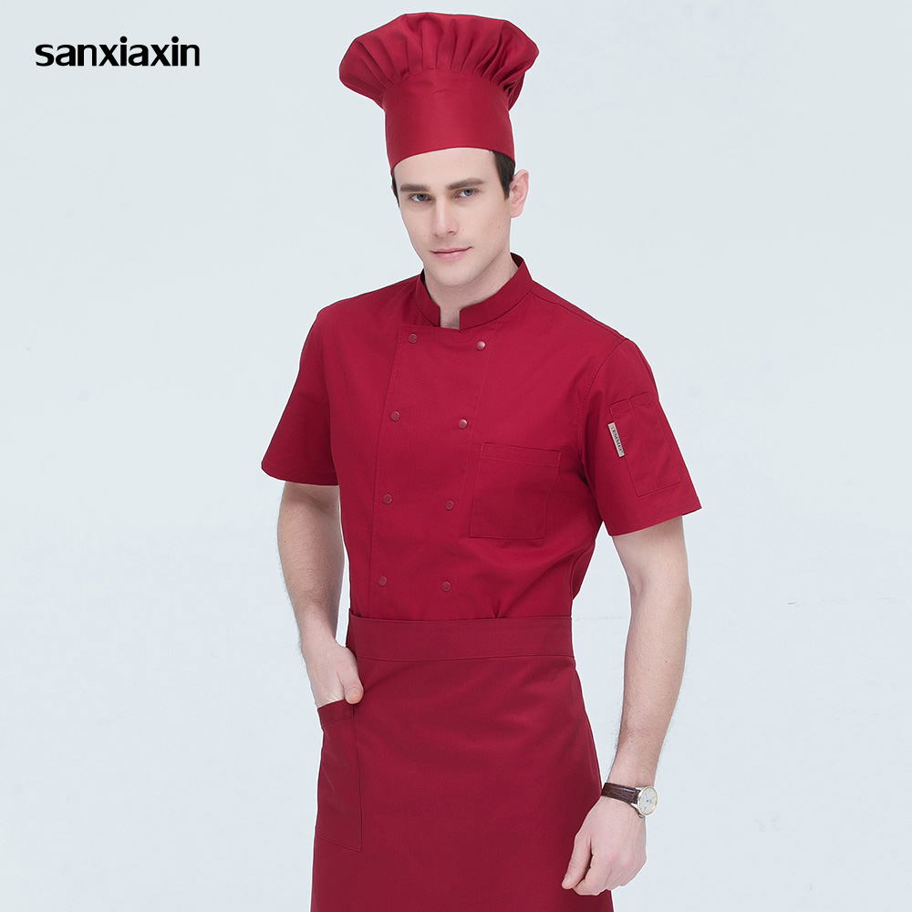 4-colors Short Sleeved Catering Workwear Restaurant Uniforms Shirts Hotel Kitchen Chef Jackets Double-breasted Chef Work Clothes