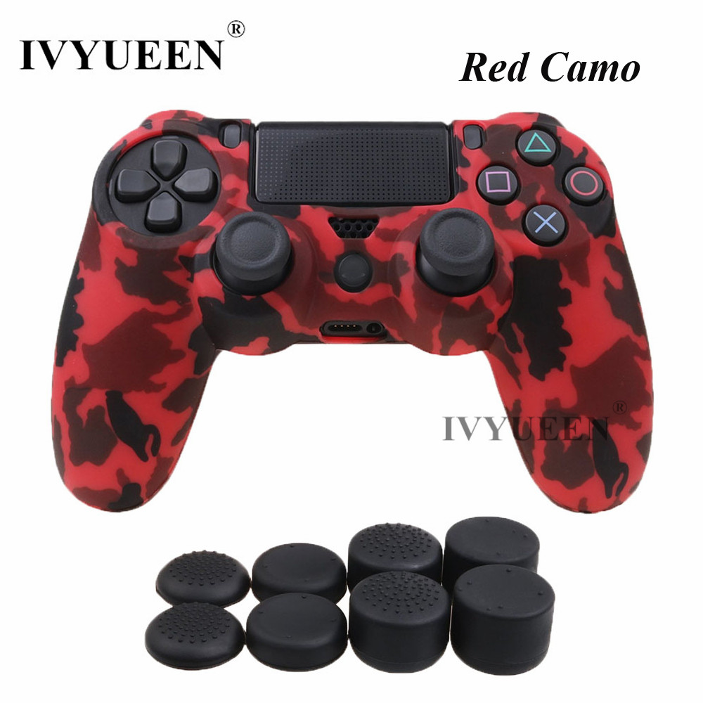 все цены на IVYUEEN for Dualshock 4 Silicone Camouflage Protector Case For PlayStation 4 PS4 DS4 Slim Pro Controller Skin with 8 Thumb Grips онлайн