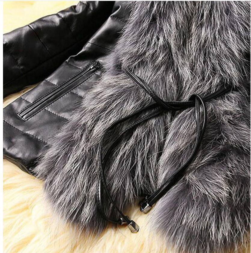 Fall Winter Style Pu Leather Stitching Faux Fox Fur Coats Plus Size Slim Outerwear Womens Man Made Fur Outwears Fur Jackets K536 in Faux Fur from Women 39 s Clothing