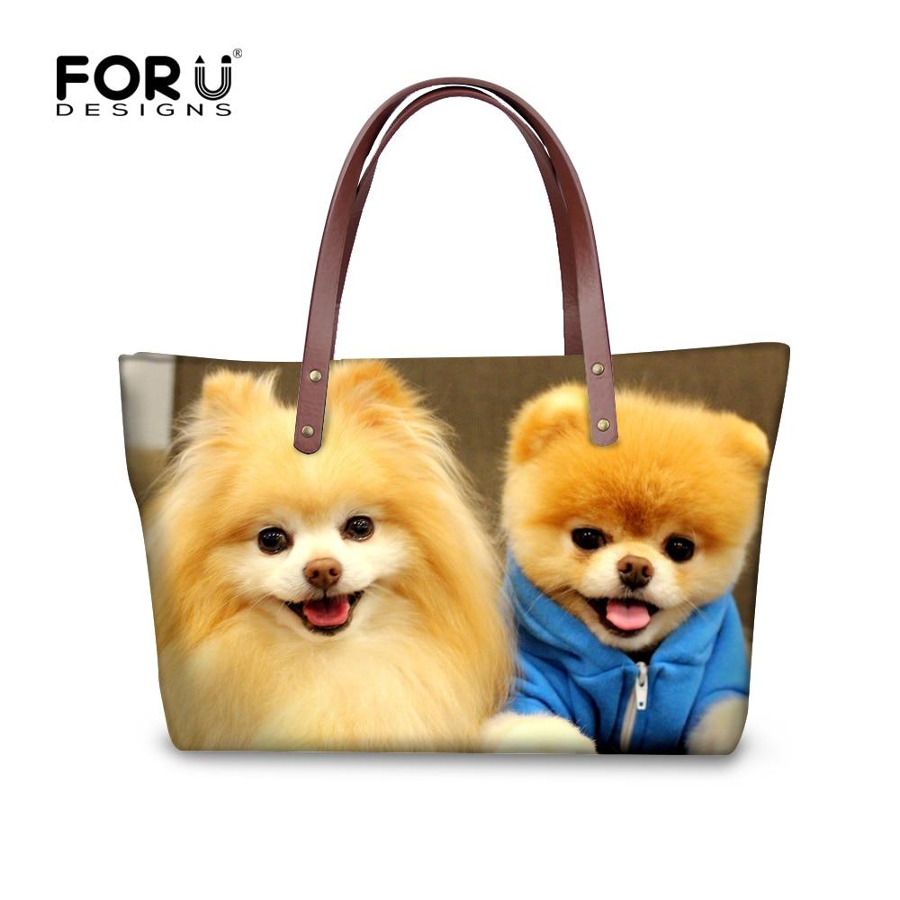 FORUDESIGNS Cute Pet Pomeranians Pattern Women Vintage Handbags Cross Body Bags for Teenage Girls Large Messenger Bags Women
