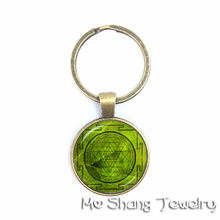India OM Yoga Namaste Time Gem Key Chain Selling Europe Datura Flower Glass Keychain Fashion Gift For Friends(China)