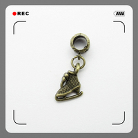 Wholesale lots 25pcs bronze dangle charms big hole Skates charm suspension fit DIY pendants for jewelry making