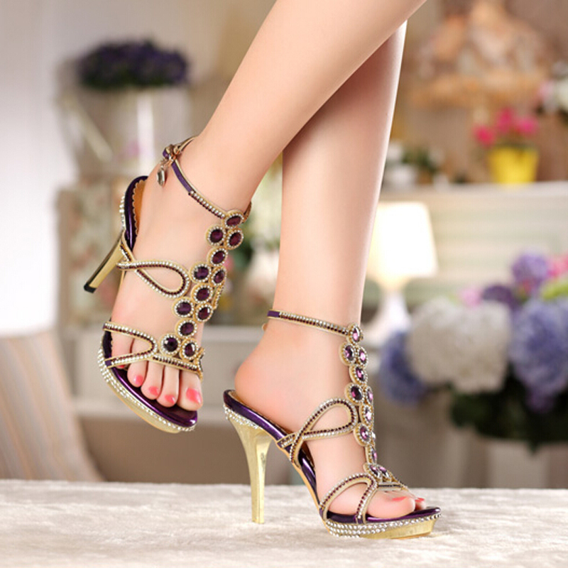 New Style High Heel Purple Sandals Fashion Women Party Prom Rhinestone Wedding Dress Shoes Summer Genuine Leather Female Shoes weiqiaona european 2018 women new fashion show leather snake skin rhinestone flowers high heel sandalss sexy ladies party shoes