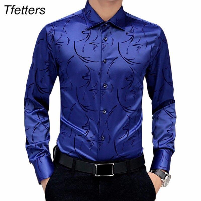 TFETTERS 2019 Arrival Luxury Brand Mens Formal Shirts Long Sleeve Floral Men Shirt Tuxdeo Shirt Designer Shirts Plus Size 5XL