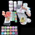 Hot Sale Acrylic Glitter Powder Glue File French Nail Art UV Gel Tips Kit Set Dust Stickers Brush BTT-95