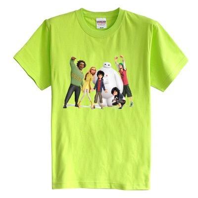 Crianças T shirt do verão de manga curta Super Marines Baymax grande Branca a roupa do bebê 100% algodão do menino da menina do miúdo t camisa