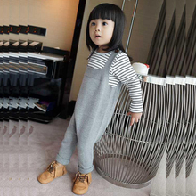 2016 Spring Bobo Style Baby Jean Overalls Boys Girls Cotton Harem Knitted Pants Baby Kids Toddlers