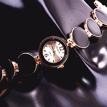Rose Gold Watches Women Ladies Nobler Fashion Black Color Wafer Design Clock Women Bracelet Watch Time Quartz Watch