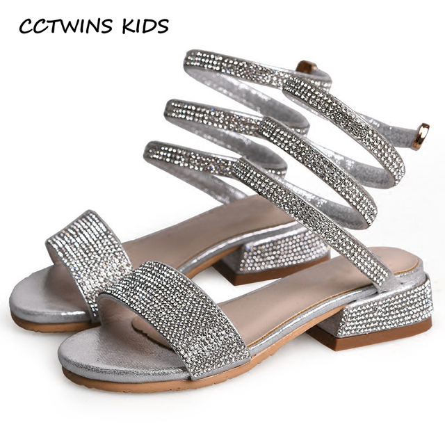 CCTWINS KIDS 2018 Summer Baby Girl Barefoot Rhinestone Gladiator Sandal  Children Pu leather Princess Shoe Toddler Flat BG062 7292367a53d6