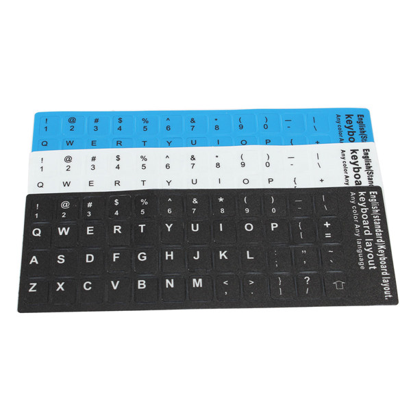 Letters Waterproof Super Durable English US Layout Standard Keyboard Non-transparent Stickers Alphabet Black White