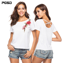 цены на PGSD Summer Casual O-Neck Pullover White Tee short sleeve Embroidery Back cross T-shirt female Fashion solid color women clothes в интернет-магазинах