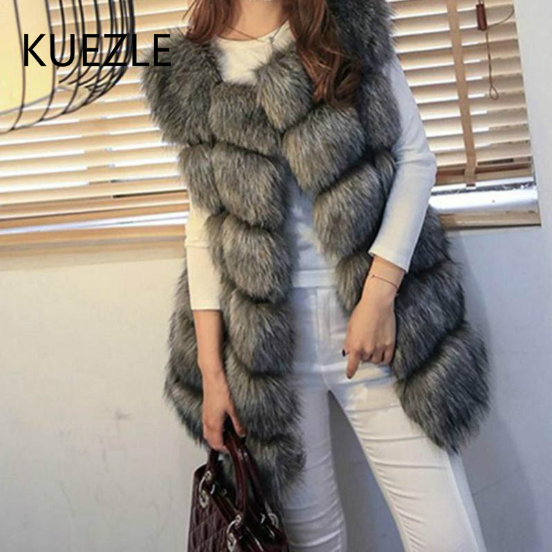 3XL High Quality Fur Vest Coat Luxury Faux Fox Warm Women Coats Vests Winter Fashion Furs Women Coats Jacket Gilet Veste 4XL