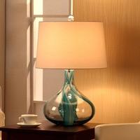 Modern Luxury Glass Table Lamp Living Room Fashion Mediterranean Blue Spiral Glass Bedroom Bedside Table Lights E27 abajurs