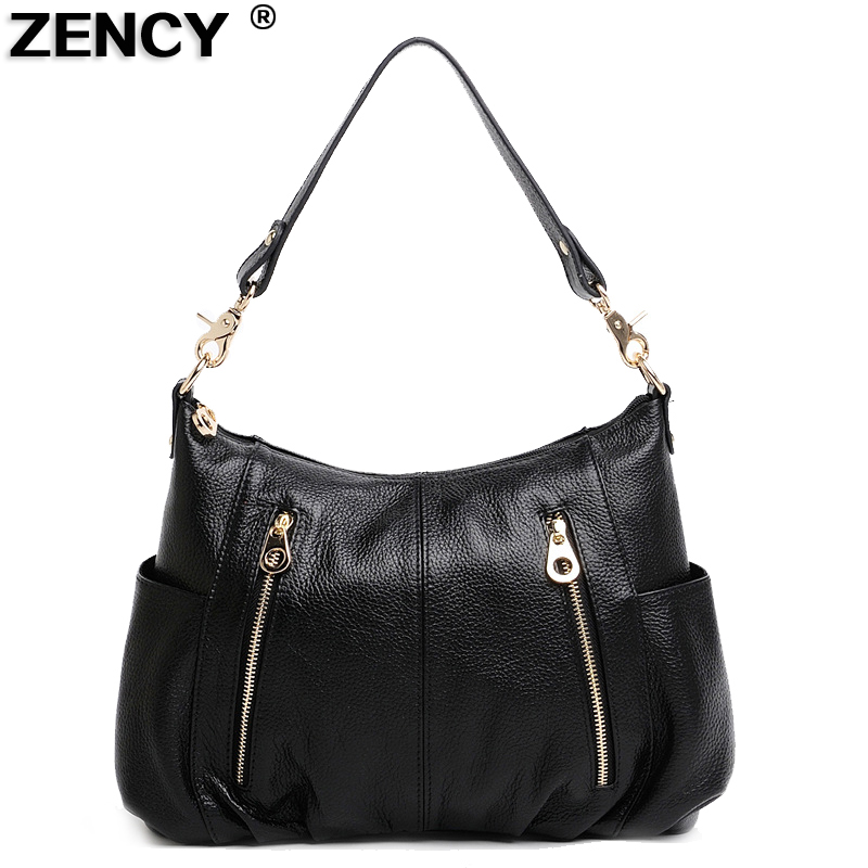ZENCY 2018 New Designer Soft Genuine Leather Women Shoulder Bag long Strap Messenger Top Handle Crossbody Bags Fashion Handbag