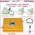Cobrindo dois quartos Impulsionador LCD! Dual Band GSM 900 MHz DCS 1800 MHz Celular Repetidor de Sinal GSM 4G Amplificador Booster + antena
