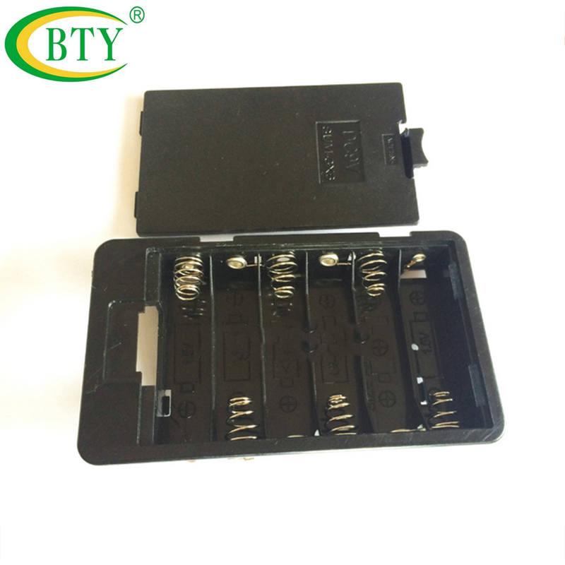 100pcs Hot Sale AA 9V <font><b>Batteries</b></font> Holder Storage Container Box For 6x AA Batteria Case Organizer Plastic Free Shipping