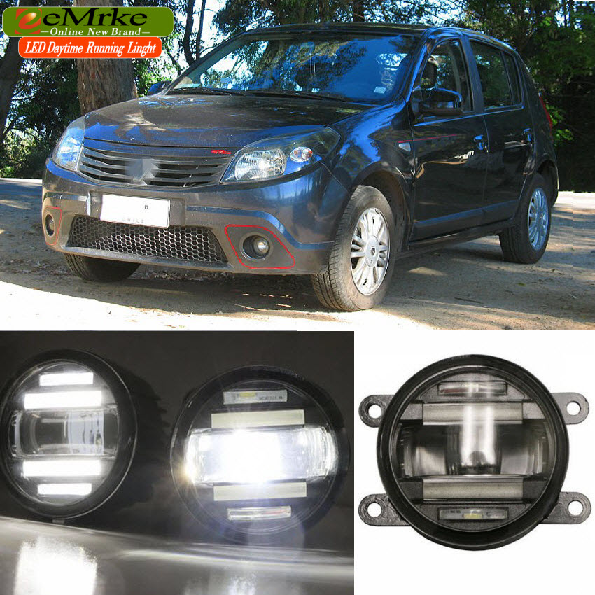 eeMrke Xenon White High Power 2in1 LED DRL Projector Fog Lamp With Lens For Renault Sandero 2008-2016 eemrke xenon white high power 2in1 led drl projector fog lamp with lens for suzuki sx4 2008 2016