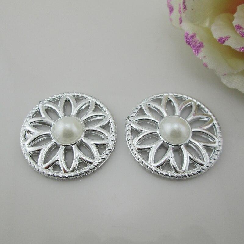 (PB132 35mm)20pcs White Pearl Plastic Rhinestone Button