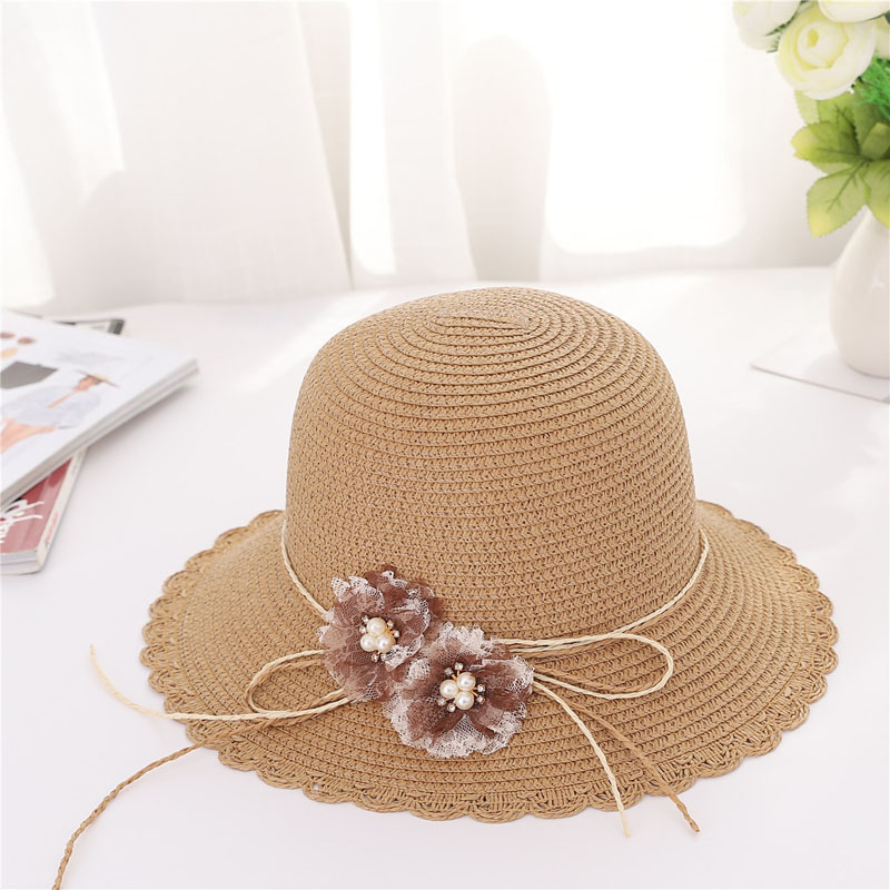 Women Sun Protective Strawhat Faux Diamond Inlay Flower Decor Beach Hat for Summer -MX8