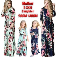 FEECOLOR Fashion Family Mother Daughter Matching Girls Long Dress Clothes Outfit